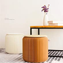 Home Furniture Softeating Modern Design Accordin Folding circular Paper Stool Sofa Chair Kraft Paper Relaxing Foot Stool-Fashion Paper Design, Ideal School, Kitchen,Living & Dining Room (Brown, 14)