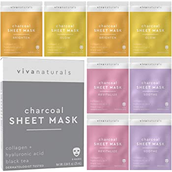 Face Mask for Korean Skincare - Sheet Mask for Moisturizing and Brightening Skin | Dermatologist Tested Charcoal Face Mask with Collagen & Hyaluronic Acid for Soft Skin, 8 Pack
