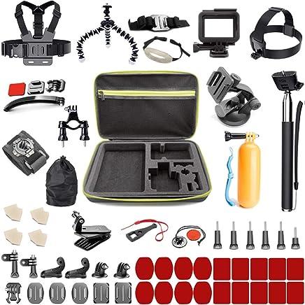 Asobeage 65-in-1 Accessories Kit for Hero 7,Hero 4,5,6,Session,Black,Hero 2018,Fusion,Head Strap Bike Car Backpack Clip Mount for AKASO Yi APEMAN VIVITAR SJCAN XIAOMI DBPOWER EK5000 EK700