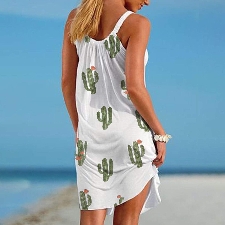 Qunkii Summer Dresses for Women Beach, Boho Floral Sundress Sleeveless Casual Crew Neck Dress Sexy Swing Mini Dresses