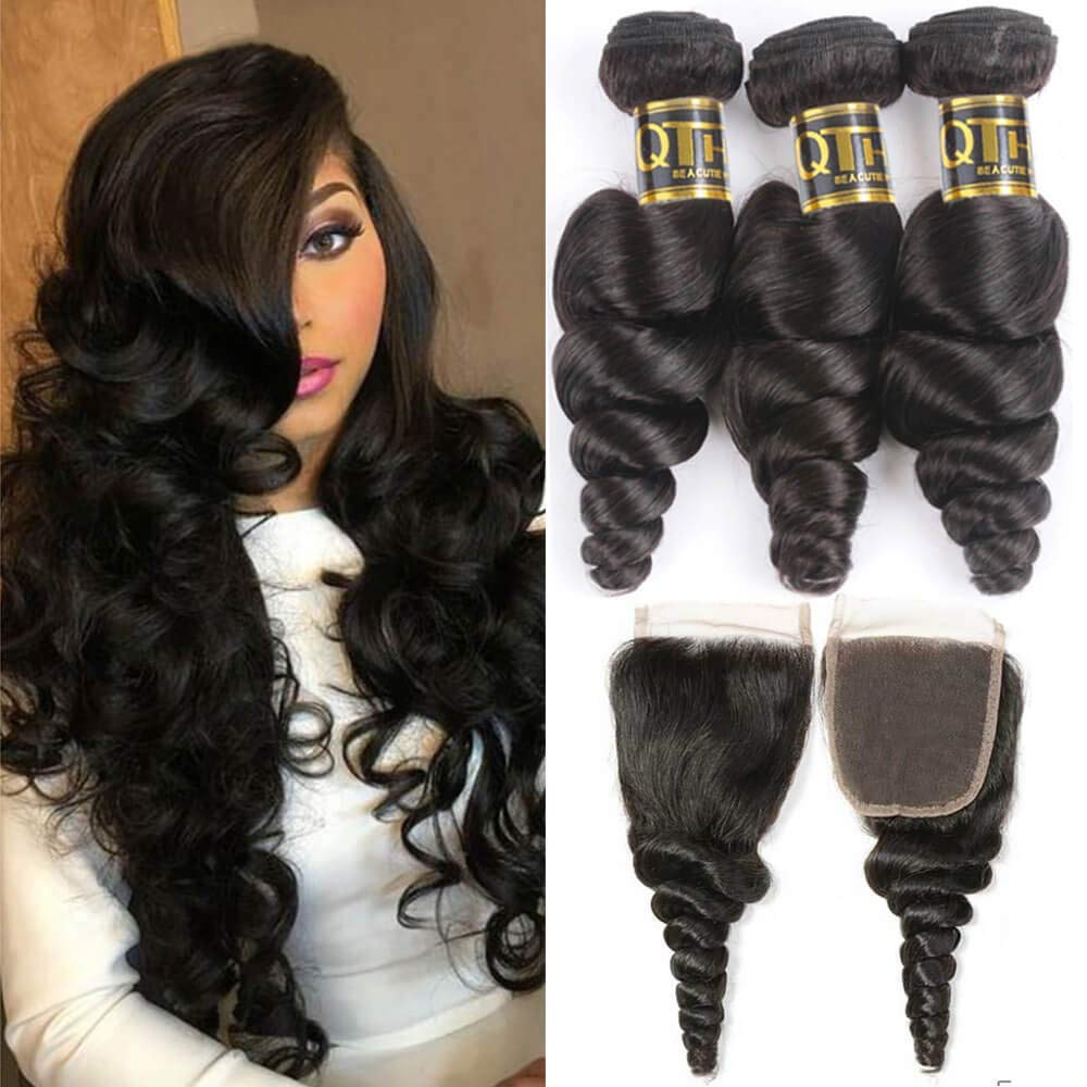 QTHAIR 12A Grade Brazilian Loose Wave 14 Closure with lowest price Bundles El Paso Mall 12