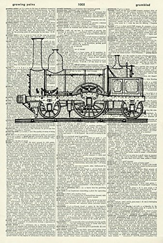 STEAM TRAIN - Vintage ART PRINT - TRANSPORT ART PRINT - Illustration - Picture - Vintage Dictionary Art Print - Wall Hanging - Home Décor - Housewares - Book Print - Steampunk 396D