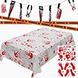 Brwoynn 5 Piece Halloween Bloody Party Decorations, Including Blood Splatter Tablecloth, Knife Hanging Banner, Bloody Handprints Footprints Floor Decals Stickers and Caution Tapes, Halloween Horror Bathroom Vampire Haunted Zombie Party Decorations Supplies