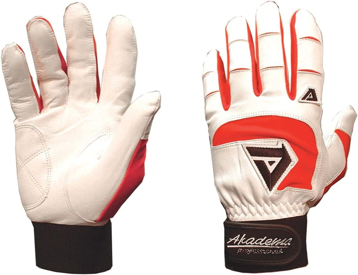 Akadema Professional Batting Gloves-White/Red
