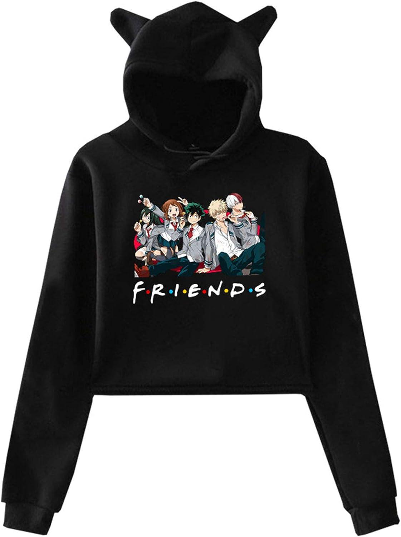 JMSUN My Hero Friends Crop Top Cat Ear Hoodies friends print Cropped long Sleeved Sweatshirt for Women's Girls