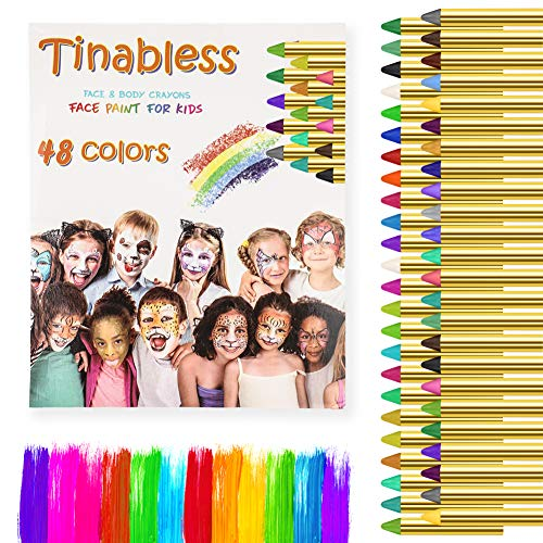 Face Paint Crayon Kits, ENJSD Face & Body Painting Makeup Crayons for Kids, Safe for Sensitive Skins, Great for Birthday Party, Halloween 48Colors
