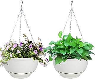 Vencer (Set of 2 Metal Hanging Planter Imitation Ceramic Plastic Flowerpot 9.3 inch Water Permeable Type,Round Shape,Ivor...