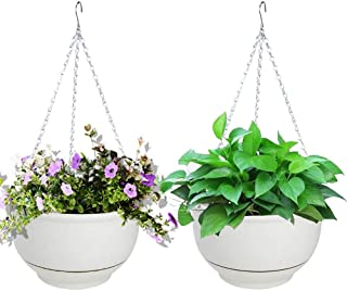 Vencer (Set of 2 Metal Hanging Planter Imitation Ceramic Plastic Flowerpot 9.3 inch Water Permeable Type,Round Shape,Ivory,VF-075