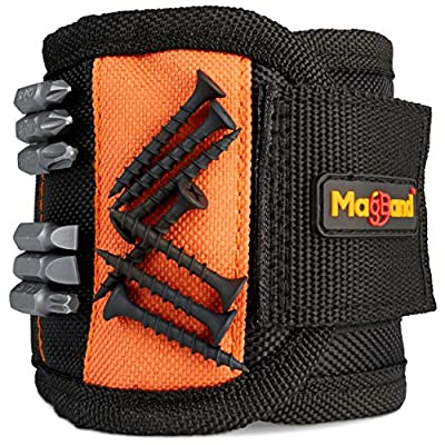 Magnetic Wristband, Super Strong Magnets Holds Screws, Nails, Drill Bits, A Black DIY Magnet Wristband, A Unique And Cool Gift Item For - Men/Women, Dad, Guys, Husband, Boyfriend, Him and Birthdays. by MagBand