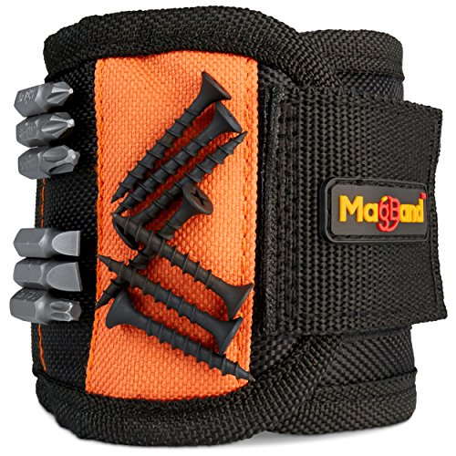 Magnetic Wristband, Super Strong Magnets Holds Screws, Nails, Drill Bits, A Black DIY Magnet...
