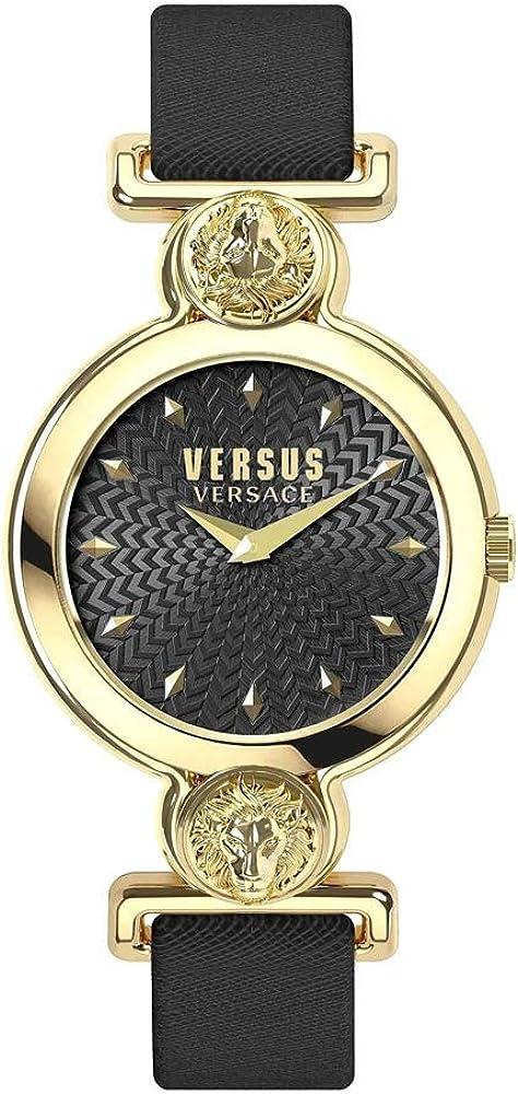 Versus versace orologio  da donna con cassa in acciaio inossidabile e cinturino in pelle VSPOL3118