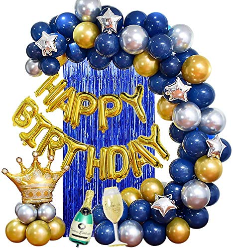 Yansion Birthday Party Decorations Blue Silver and Gold Party Balloons for Boys Friends Men Teens with Happy Birthday Banner Crown Champagne Balloons for 18th 21st 30th 40th 50th 60th 70th Party Decor