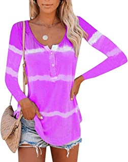 Miracle Women Long Sleeve V-Neck Button Tie dye Causal Tops Blouse T T-Shirts