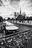 'Love Locks' Fine Art Print, Paris, Bridge, Notre Dame Cathedral, Black and White, Romantic, Seine River, France - Travel Photography, Print, Wall Art