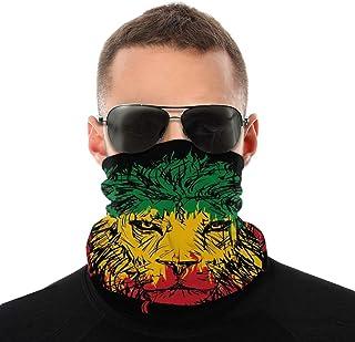 Lsjuee Mezze bandane Varietà Sciarpa da collo Warme Collo Gaiter Sciarpa Bandiera etiope Colori su Grunge Sketchy Lion Hea...