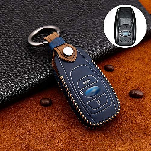 ontto Funda para llave de coche de piel de vacuno para Subaru Legacy Impreza WRX XV BRZ Forester Lev