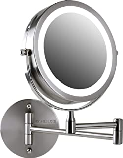 Ovente Wall Mount LED Lighted Makeup Mirror, Battery Operated, 1x/7x Magnification, 7 Inch, Nickel Brushed (MFW70BR1X7X)