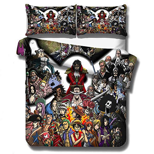 Soft Microfiber One Piece Bedding Duvet Cover Set for Twin Full Queen King Size Bed Luffy Zoro Nami...