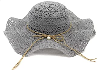 Women Sun Hat Straw Hat Outdoor Seaside Beach Big Hat Fashion Sunscreen Visor Pearl Lace Bow Big Cool Hat` TuanTuan (Color : Gray, Size : 56-58CM)