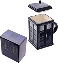 Mad-About-Gifts Cuadrado de Cabina de policía Dr Who Tardis–Taza de cerámica con Tapa–Caja de Regalo