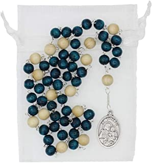 Christian Living St Joseph 15.5-inch Chaplet Rosary with Teal Blue and Crème Wood Beads