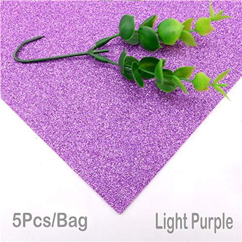 5 vellen 20 * 30cm glitter schuimpapier schittert papier voor kinderen knutselactiviteiten doe-het-zelvers handwerk schuimpapier zonder lijm, lichtpaars