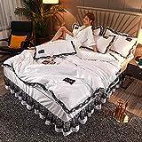 Individual Funda de edredón y Funda,Conjunto de tapa de edredón 4 PCS Conjuntos de ropa de cama suave por colcha de algodón de poliéster con 2 piezas de almohada de funda de almohada fácil / cama dob