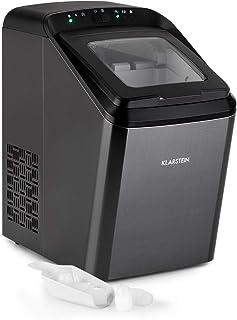 Klarstein Partytime - Máquina de cubitos de hielos, Potencia 145 W, Tanque de agua 2,9 L, Volumen producción 15 kg/24h, 9 cubitos por ciclo, 2 tamaños, Función autolimpieza, Acero, Negro