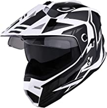 1Storm Dual Sport Motorcycle Motocross Off Road Full Face Helmet Dual Visor Storm Force Black, Size XXL