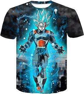 LALAWO Printed Cartoon T-Shirt Top T-Shirt Large Size Dragon Ball Z T-Shirt Men's Super Saiyan Super Instinct Children Goku Vegeta (Color : #3, Size : M)