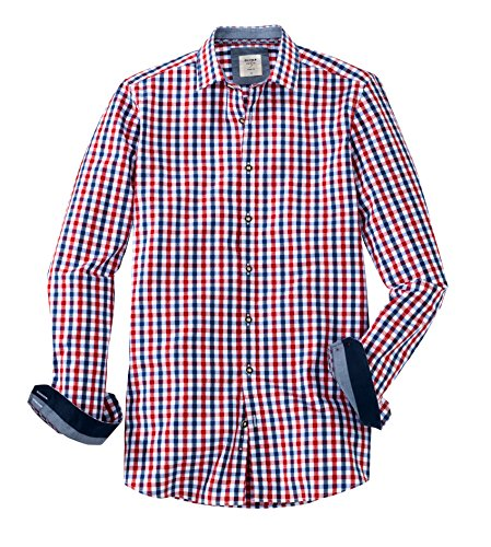 OLYMP Hemd Trachtenhemd Level 5 Body Fit Rot/Blau, Größe XL