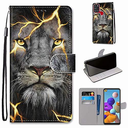 Miagon Flip PU Leder Schutzhülle für Samsung Galaxy A21S,Bunt Muster Hülle Brieftasche Case Cover Ständer mit Kartenfächer Trageschlaufe,Wütend Löwe