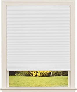Easy Lift Trim-at-Home Cordless Pleated Light Filtering Fabric Shade White, 48 in x 64 in, (Fits windows 31