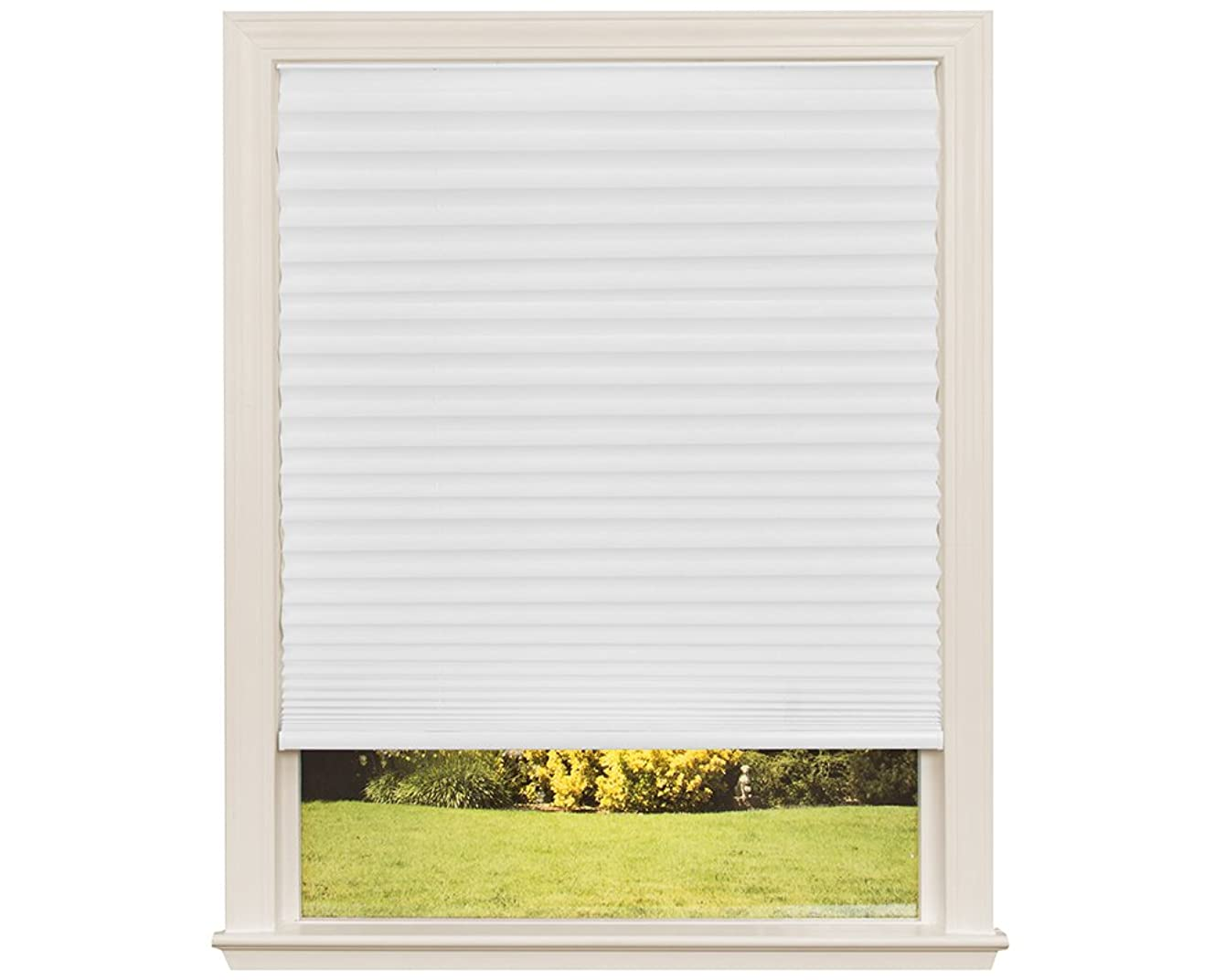Easy Lift Trim-at-Home Cordless Pleated Light Filtering Fabric Shade White, 30 in x 64 in, (Fits windows 19