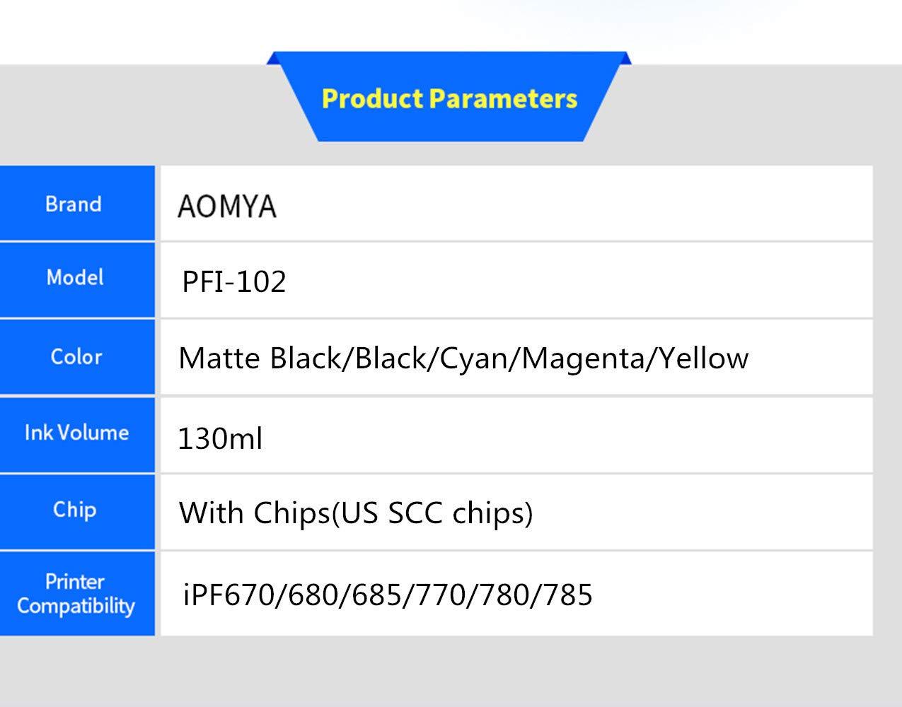 Aomya - Cartuchos de tinta compatibles para Canon PFI-102 (2 MBK, BK, C, M, Y), 6 unidades: Amazon.es: Electrónica