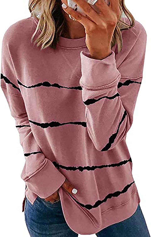 URMOSS Women's Striped Sweatshirt Long Sleeve Casual T-Shirts Crewneck Tunic Top