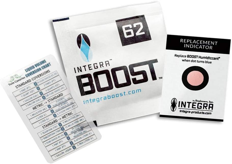 Integra Boost RH 62% 2 Way Humidity Control (4 Gram - 12 Packets) + Twin Canaries Chart