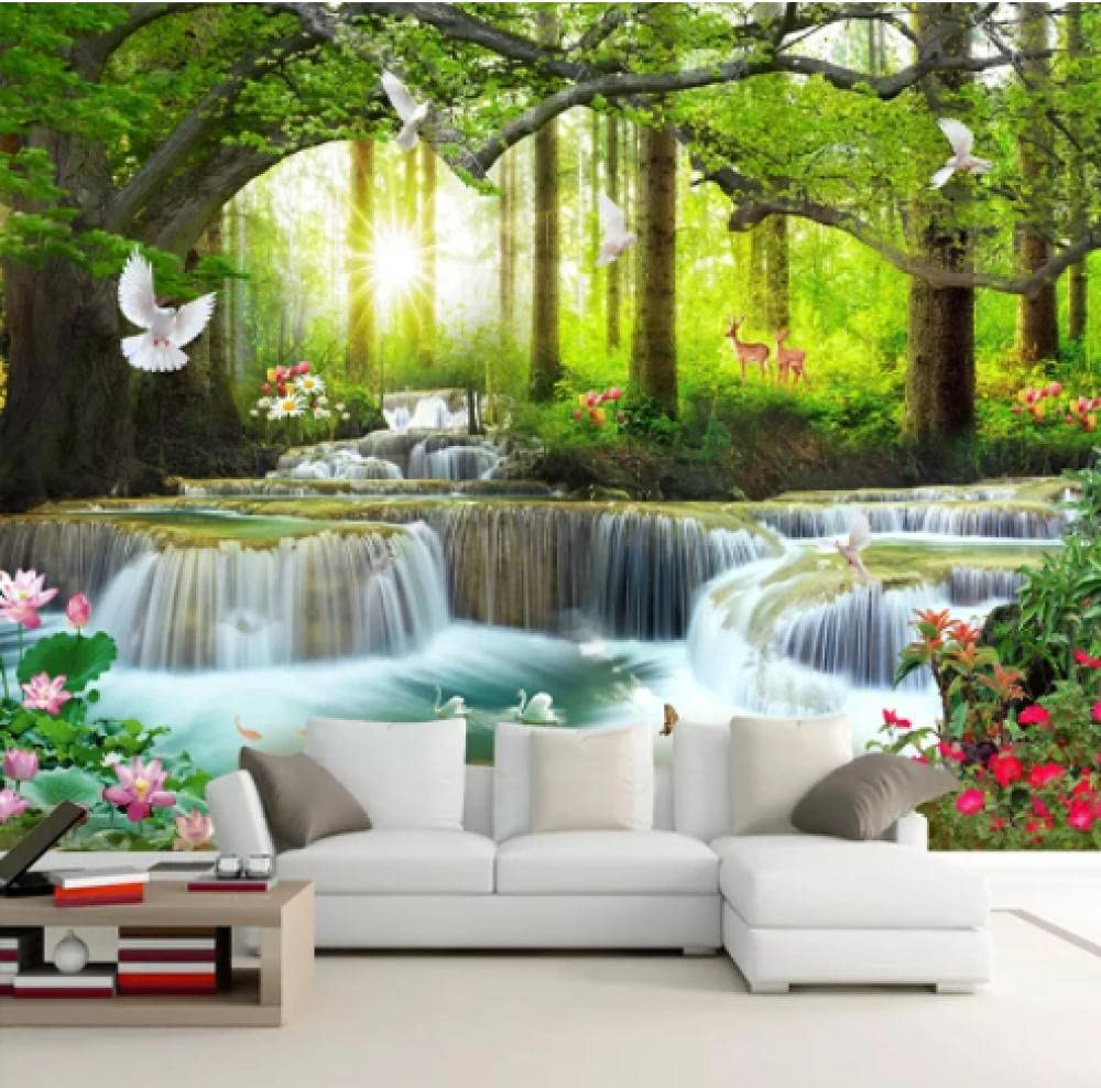 Custom Max 61% OFF Green Tree Forest Waterfall Cov Landscape Albuquerque Mall Waterproof Wall