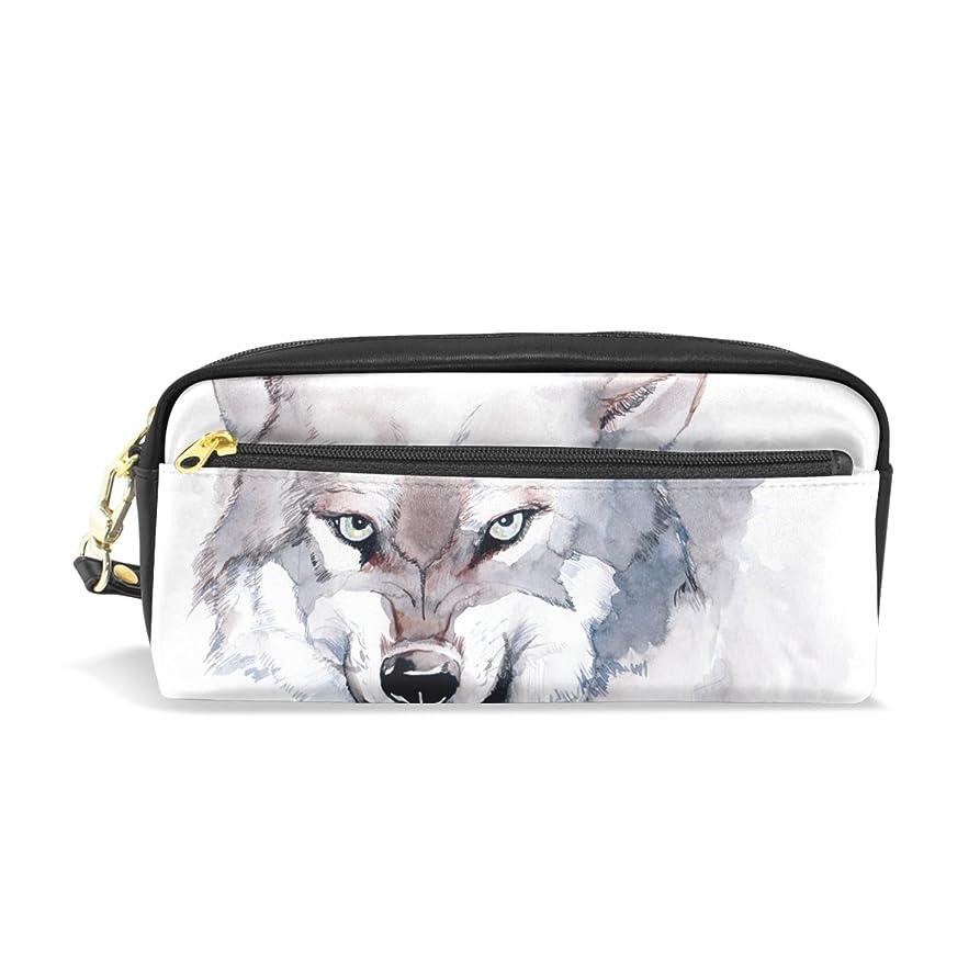 特異なしてはいけない技術者AOMOKI ペンケース 化粧ポーチ 小物入り 多機能バッグ レディース 狼