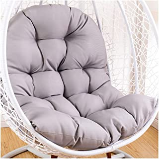 Swing Hammock Egg Chair Cushion Without Stand, Cotton Pads Removable Seat Cushions with Pillow, Overstuffed Hanging Baskets Rattan Chair Cushions 125x95 cm (49x37inch),Gray