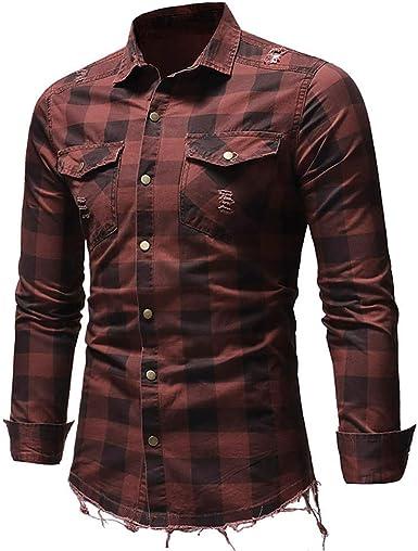 Loeay Camisas de Estilo Slim fit para Hombre Camisa de Cuadros con Botones clásicos Bolsillo de Manga Larga Cuello Vuelto Ropa de Calle Camisas de ...