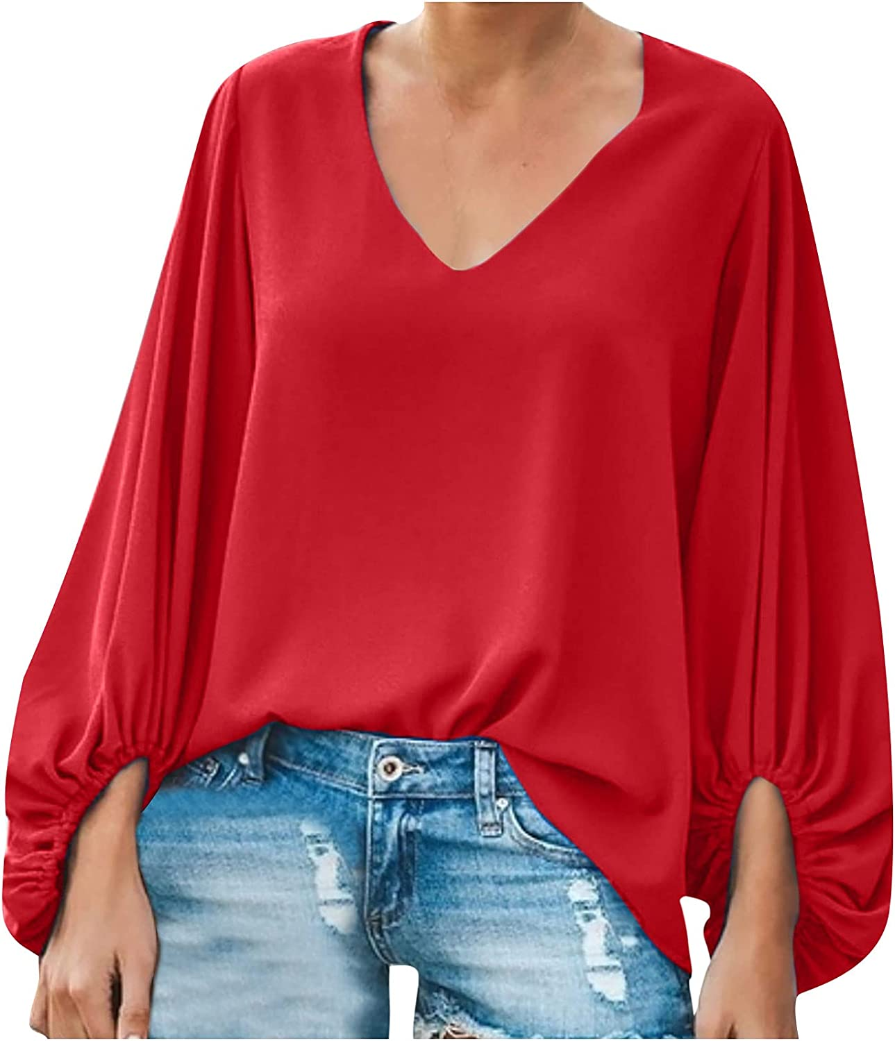 Fashion Womens T-Shirt Lantern Long Sleeve V-Neck Solid Color Loose Casual Blouse Tops S-2XL