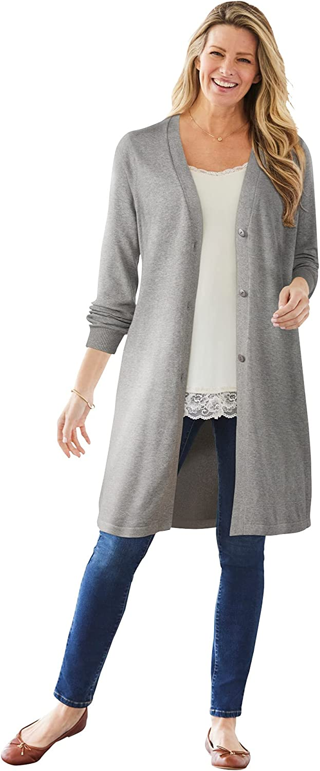 Woman Within Women's Plus Size Perfect Cotton Duster Cardigan Sweater