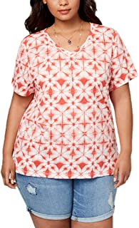 Style & Co Plus Size Printed Essential T-Shirt in Pimpernel Rain Pattern