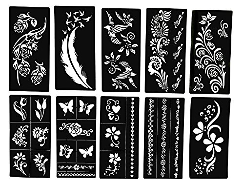 Tattoo Stencils - Butterfly and Flowers - New Henna Designs- Set of 10