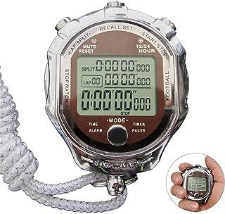 Digital stoppur metall Timer, digital professionell handhållen LCD kronograf sport stoppur för tränare fitness match (färg...