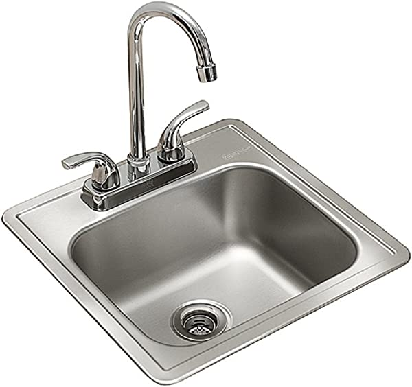 Kindred Essentials All In One Kit 15 Inch X 15 Inch X 6 Inch Deep Drop In Bar Or Utility Sink In Satin Stainless Steel FBFS602NKIT