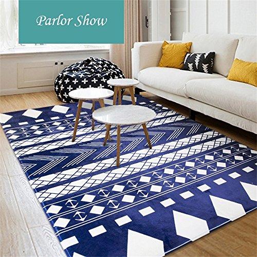 Moquettes tapis et sous-tapis Tapis Designer Nordic Simple Living Table Canapé Canapé Grande Rectangulaire Tapis Chambre Couche Couette (Bleu et Blanc) (Couleur : Bleu, taille : 200 * 280cm)
