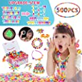 Pop Beads 500+PCS DIY Jewelry Making Kit Toys for Toddlers 3,4,5,6,7,8 Year Old Pop Snap Beads Set to Make Hairband,Necklaces,Bracelets,Rings,Earrings and Art&Crafts Creativity Toys For Kids Gifts