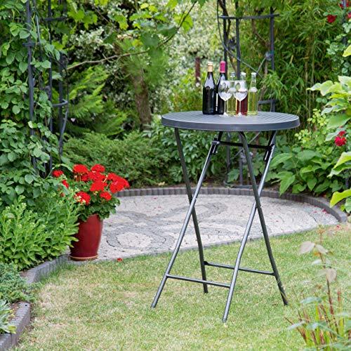 Relaxdays pie Plegable Bastian Redonda, Mesa de Bar, 110 x 80 x 80 cm, Look ratán, Resistente a Intemperie, Negra, plástico, Acero, 80x80x110 cm